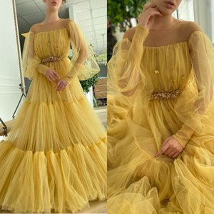 Yellow Evening Gowns Long Sleeves Pearls Sweep Train A Line Prom Dresses Ruffles Vestidos Formal Robe De Soirée
