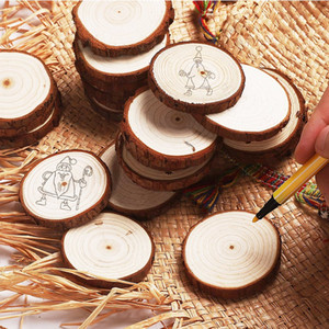 Christmas Ornaments Wood DIY Small Wood Discs Circles Painting Round Pine Slices with Hole Jutes Party Supplies 6CM-7CM WB3072