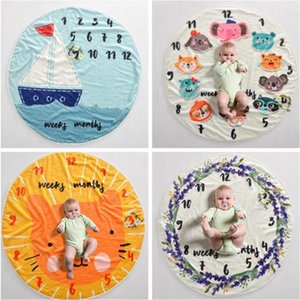 Kid Circular milestone Blanket Flannel warms and softens baby swaddles photography background props Blankets baby wraps YHM91-1
