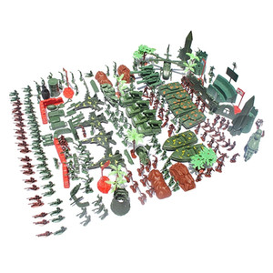 519 pièces Armée Hommes Playset 4cm Soldat Action Figurines avec réservoirs Planes Drapeaux Plus d'accessoires Y200421