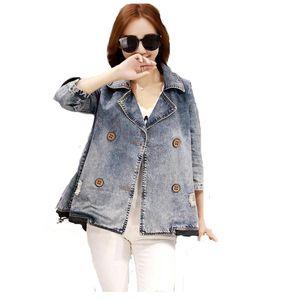 Autumn New Ripped Denim Cape Jacket Plus Size 3XL Women Outwear 3 4 Sleeve Double Breasted Jeans Dress Coat FS0160