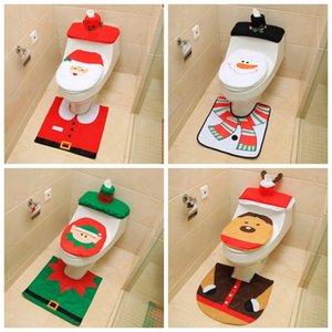3 قطع عيد المرحاض غطاء مقعد سانتا كلوز الحمام حصيرة عيد الميلاد ديكور الحمام سانتا مقعد المرحاض غطاء البساط المنزل الديكور 2020