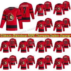 Ottawa Senadores Jersey 2020-21 Invierta Retro 7 Brady Tkachuk 30 Matt Murray 71 Chris Tierney 17 Galchenyuk Hockey Jerseys