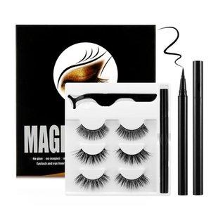 3 Pairs Set False Eyelashes with Self Adhesive Liquid Eyeliner Kit No Magnetic No Glue Needed To Wear Eyelahses Eye Makeup Tools