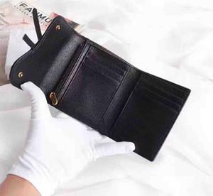 Bolsos Monederos Moda Nuevo Holder cuadrado simple Soporte Negro Color Black Wallet 3 Pliegue Bolso Multifunción Multi-Función Bolsa Multiparada Carteras