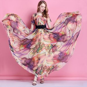 Colorful Floral Printed Chiffon Maxi Dress Free and Loose Beach Wedding Long Flowy Dress with Sleeves