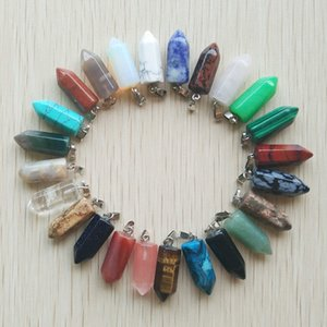 50pcs lot Wholesale fashion bestselling good quality natural stone mix point pillar pendants for jewelry making free shipping Q1129