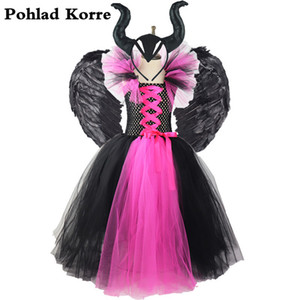Girls Black Rose red Maleficent Queen tutu dress Kids halloween costume Carnival Party Dresses For Girls Children Clothes XX060 Z1127