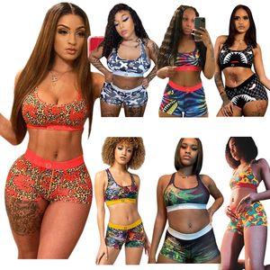 Frauen Mädchen Badeanzug Mode Bikini Set Sommer Weste Tank BH Und Shorts Swimwear Shark Floral Print Tankinis Design Schwimmen Anzug Beachwear