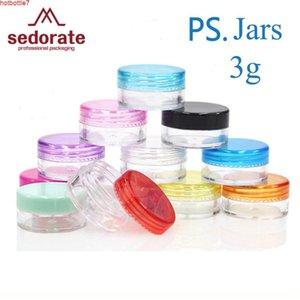Sedorate 50 pçs / lote 3g mini frasco redondo de alta qualidade plasti olho creme frágil recarregável para recipiente cosmético JX004High quantidade