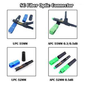 100 pièces SC Connecteur optique de fibre de l'APC / UPC 55mm / 52mm SM SM Connexion à froid FTTH Networking1