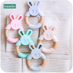 Bopoobo 5pc Food Grade Beech Wooden Teether Ring Baby Training Chewable Rabbit Teethers Diy Pendant Accessories Baby Products 201123