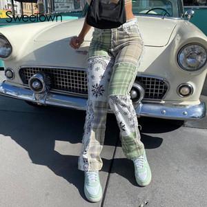 Liebsten Schmutz ästhetisch Niedrige Rise Jeans Frauen Streifen Plaid Patches Vintage 90er Jahre Denim Hose Weibliche Y2k E Mädchen gerade Hosen