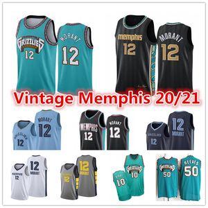 JA 12 Morant Jersey Herren Vintage VancouverMemphisGrizzlies2021 Stadt Mike Bibby Abdur-Rahim 50 Reeves City Basketball-Trikots
