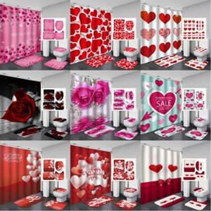 40 Styles Valentine's Day Shower Curtain Sets Non-Slip Rug Red Roses and Love Balloons Waterproof Bathroom Shower Curtain Kimter-K390FA