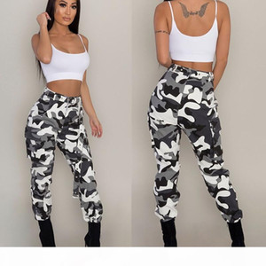 Womens Fashion Camouflage Pants For Ladies Europe and America Style Plus Size Street Casual Long Trousers Cargo Pants 3XL without belt