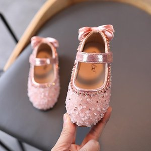 1-12 Years 2021 Little Girl'S Spring Baby Shoes Princess Fashion Rhinestone Bow Dress For Children Kids Party Dance Leather Shoe
