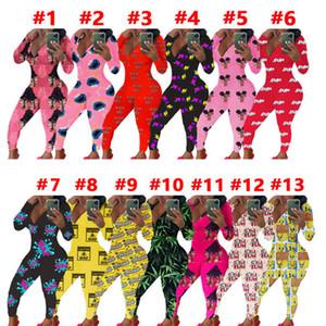 Женщины Комбинезонов Rompers Дизайнер Пижамы Ночного Bodysuit тренировка Тощего Hot печать V-образный вырез с длинным рукавом Брюки женской Главная пижама комбинезон