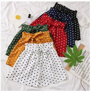 2020 Fashion Polka Dot Chiffon Shorts Women Summer New High Waist Sweet Bow Tie Shorts Drop Shipping