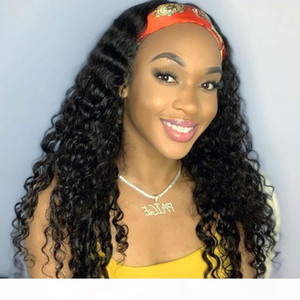 DIVA Deep wave curly headband human hair wig 2020 new style cheap for sale 150%desntiy colors aviable