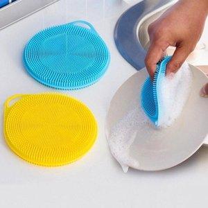 Cuisine Silicone Lave-linge Échantillons Silicone multifonctionnel éponge à la vaisselle Brosse Fruit Nettoyage Brosses de nettoyage anti-chaud Shape rond DHD2965