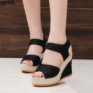 2021 New Wedge Summer Open Toe Fish Head Sandals Fashion Platform High Heels Women Shoes Size 35-41 Q1201