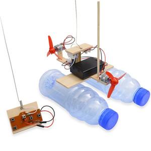 Yeni Ahşap RC Tekne Çocuk Oyuncakları Montaj Uzaktan Kumanda Tekne Oyuncaklar Akülü Eğitici Oyuncak Bilimsel Deney Modeli Kitleri Y200413