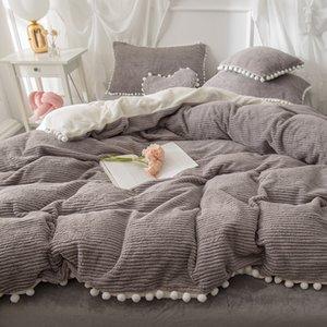 Three or four-piece rabbit fleece Dora set, pear flower hair ball, crystal suede fur velvet net red, autumn and winter warm bedding