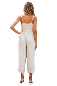 A new European and American hot sale in spring and summer 2021 leisure fashion V-neck suspender solid-color jumpsuit