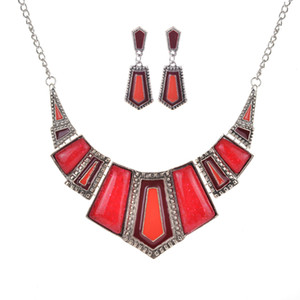 Hot New Imitation Stone Resin with Dripping Oil Necklace with Earrings Set Ornaments Wholesale 9064