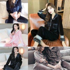 Automne et hiver Sexy Pantalons Pajamas Lady New Ladies Cotton Pajamas costume mignon Coréen Casual Coton à manches longues Home # 600