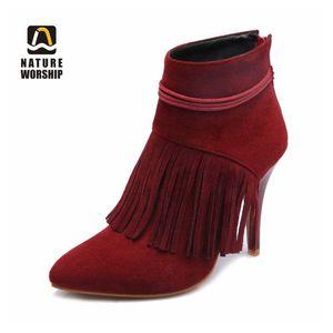 Natura Adorazione Fashion High sottile Tacchi sottili Donne Ankle Stivali corti Flock Shoes Shoes Shoes Fringe Fleeches Worm Boots Big Size45