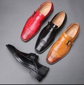 Crocodile Pattern PU Leather Dress Shoes Men Shoes for Business Casual Big Size 48 Shoes Formal for Wedding Party