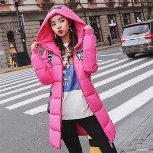 Moda de algodón acolchado chaqueta con capucha chaqueta de invierno cálida mujer Parkas Long Slim Fanmuer 201217