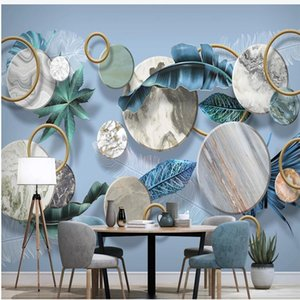 modern wallpaper for living room Plant leaf feather light luxury geometric wallpapers 3D stereo background wall mural