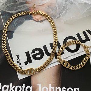 316L titanium steel rose gold-plated double D letter necklace suitable for men women's bracelets necklaces jewelry