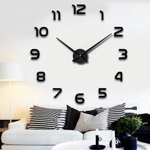3D DIY Wall Clock Stickers Mirror Number Home Decoration for Living Room Bedroom Adjustable Paste Type Quartz Clock