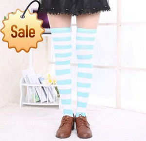 Women Girls Over Knee Long Stripe Printed Thigh High Socks Sweet Cute Warm Sock