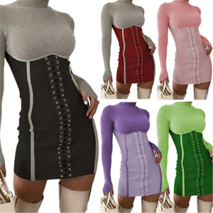 Ladies Bandage Sexy Dress Fashion Trend Long Sleeve Stand-up Collar Tops Short Skirt Designer Female Winter New High Waist Casual Slim Dress