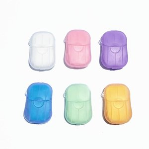 20PCS box Portable Mini Travel Soap Paper Washing Hand Bath Clean Scented Slice Sheets Disposable Box Soap Disinfectant Soap Paper HHE3352