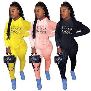 Plus Size Women Black Smart Tracksuit Designer Hooded Hoodies Trousers Outfit Two Piece Sport Suit Sweatshirt Legging Pants 2Pcs set E112305