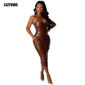 Повседневные платья женщины сексуальное искусственное кожаное платье спагетти ремешок без рукавов v шея твердая вечеринка спина сплит элегантный миди bodycon vestidos