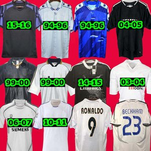 Retro 2010 11 12 Echte Madrid Fussball Jersey Guti Ramos McManaman 13 14 15 Ronaldo Zidane Beckham 06 07 Raul Robinho 1999 2000 Carlos 94 95 96