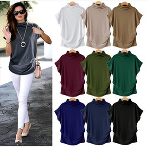 Dropshipping Women Summer Short Batwing Sleeve Tops Tshirt Ladies Solid Black Turtleneck Cotton Plus Size Streetwear T Shirt