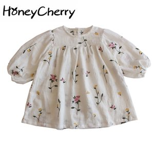 2020 Autumn Puff Sleeve Embroidered Dress Girl Baby Fashion Princess Clothes dress baby girl clothes F1202