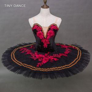 Black Velvet Bodice with Red Applique Decoration Professional Ballet Dance Tutu Performance Costume Solo Tutu Dresses B20042