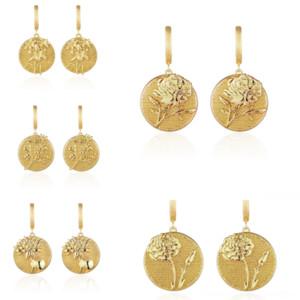 jEt mm 18K Round Pattern Natural Emerald jewelry women green earring studex gemstone earrings Cost-effective sterling silver