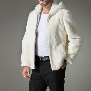 New Arrival Top Quality Mens White Faux Fur Hooded Zip Coat Man Fur Hooded Jacket Warm Outwear gentleman Coats Plus Size S-4XL