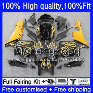100% Fit For HONDA CBR600F5 CBR600 RR CBR600RR 05 48HM.220 CBR 600RR CBR 600 CC RR 600CC F5 05 06 2005 2006 Injection Yellow flames Fairings