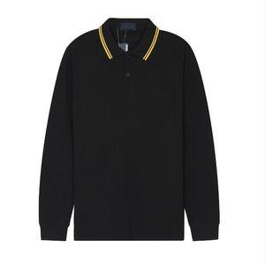 UK Men Fashion Fred Polo Рубашки Англии Хлопок Мужские Повседневные Полос Осень Новый Сплошной Цвет Отворотный Цвет Длинные Рукава Перри Футболки Мужской Tees Черный